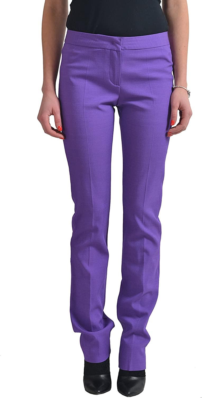Just Cavalli Womens Wool Purple Stretch Casual Pants US 4 IT 40