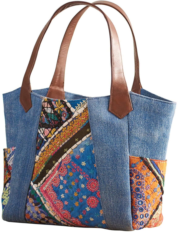 Catalog Classics Womens Denim Banjara Handbag - Snap Close Embroidered Purse