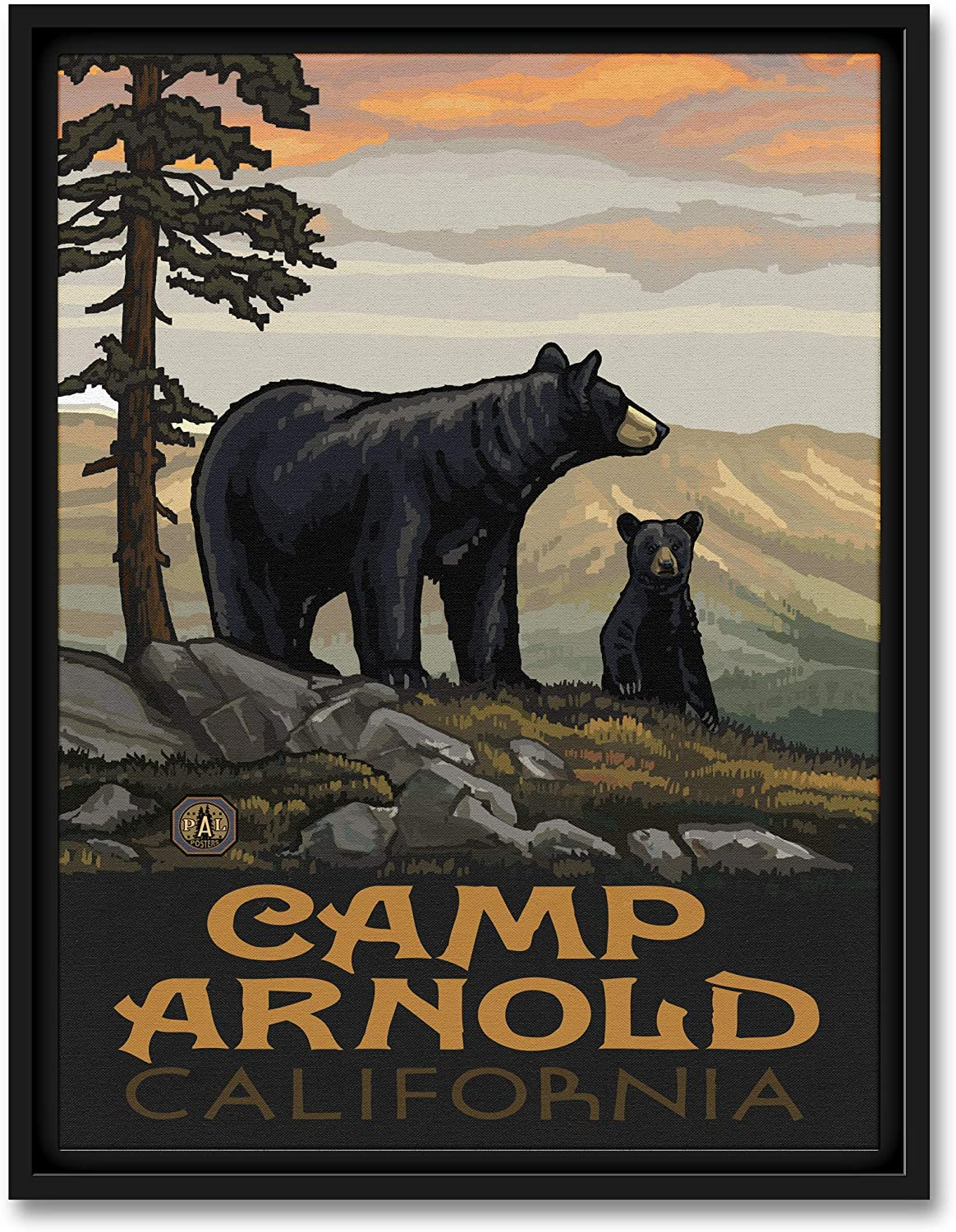 Camp Arnold California Black Bear Family Professionally Framed Giclee Archival Canvas Wall Art for Home & Office from Original Travel Artwork by Artist Paul A. Lanquist 9 x 12