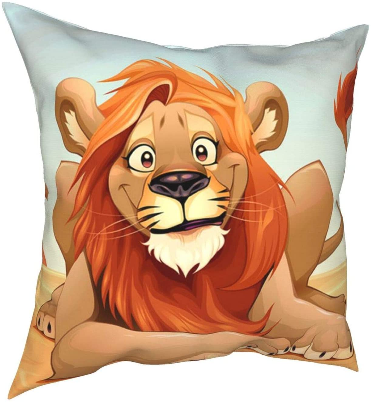 VARUN Happy Lion in Savannah Pillow Cover Decorative Throw Pillow Case Christmas Thanksgiving Farmhouse Flower Pillowcase for Home Decor Sofa Bedroom Car 12 x12