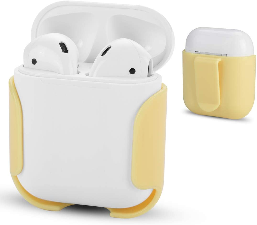 for Airpods Charging Case Protector Ultra Light Belt Clip Flexible Holder Protective Grips for Apple AirPods, AirPods 2nd Generation Fashion Gifts Exercise Accessories (Yellow)