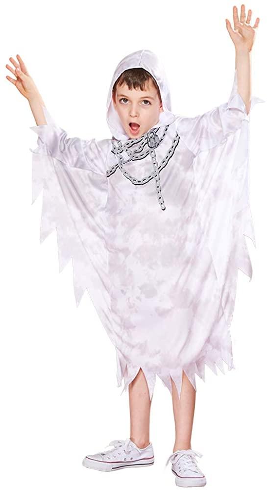 FantastCostumes Kids Ghost Costume White Boys Halloween Phantom Hood Robe Grim Reaper Costume