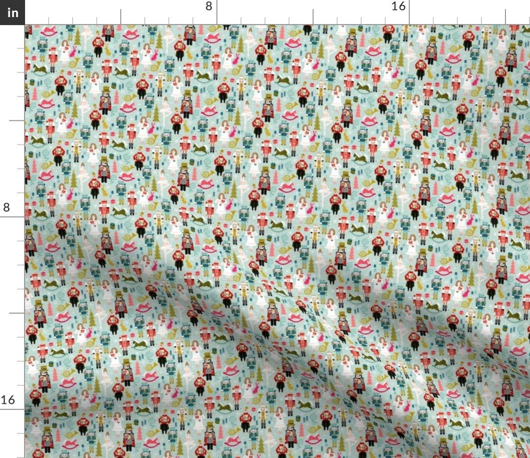 Spoonflower Fabric - Nutcracker Ballet Xmas Holiday Christmas Printed on Petal Signature Cotton Fabric by The Yard - Sewing Quilting Apparel Crafts Decor
