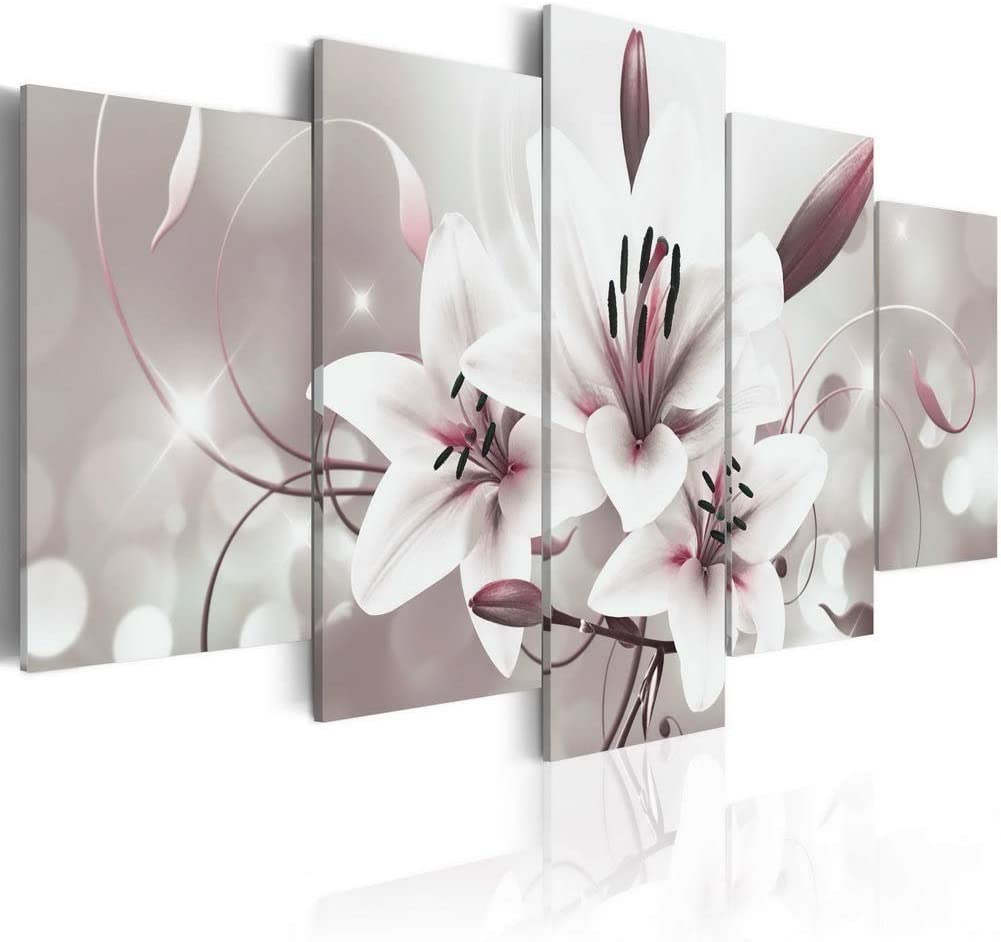 Melpa Art 5 Panels Modern Lily Flower Canvas Print Picture Contemporary Abstract Wall Art White Floral Paintings Home Decor Framed Artwork for Office