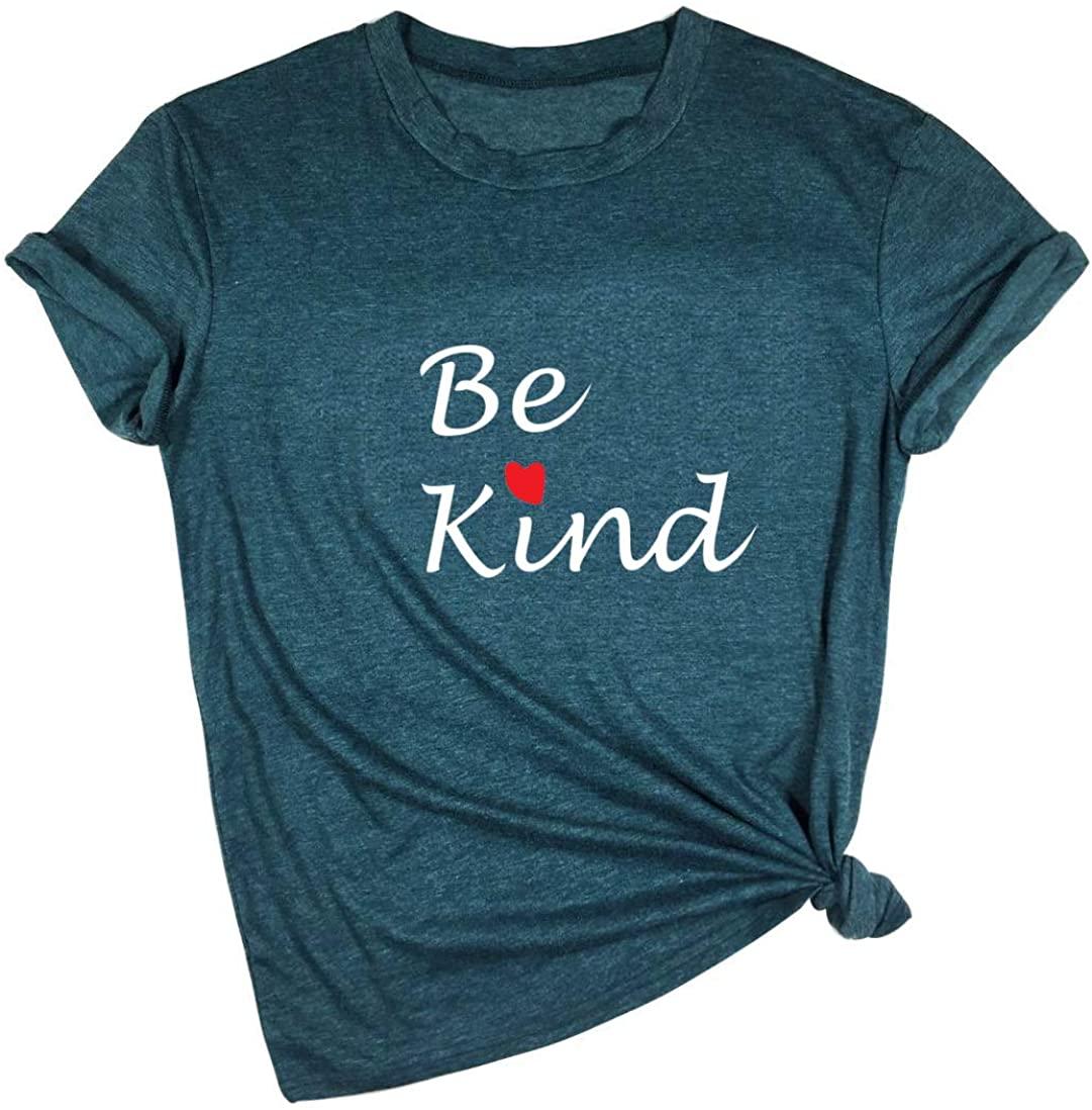 Be Kind Shirt Women Heart Blessed Tshirt Funny Inspirational Teacher Fall Tops