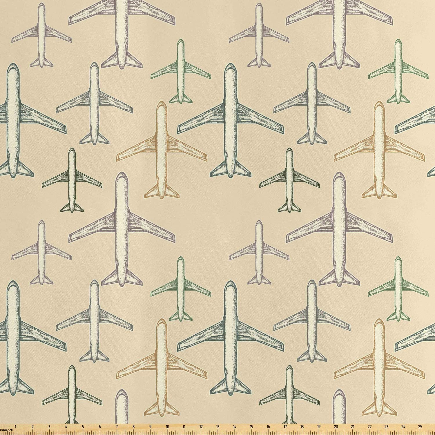 Ambesonne Vintage Airplane Fabric by The Yard, Transportation Vacation Themed Hand Drawn Commercial Airplane Silhouettes, Decorative Satin Fabric for Home Textiles and Crafts, Multicolor