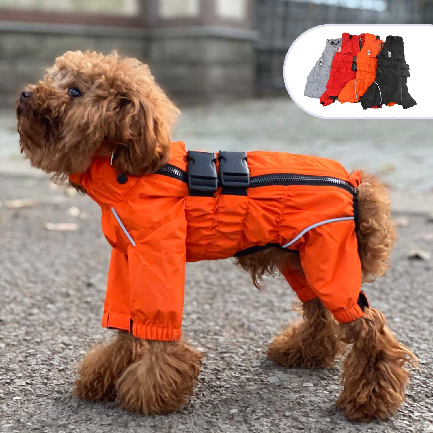 Lovelonglong Dogs Waterproof Jacket, Lightweight Waterproof Jacket Reflective Safety Dog Raincoat Windproof Snow-Proof Dog Vest for Small Medium Large Dogs