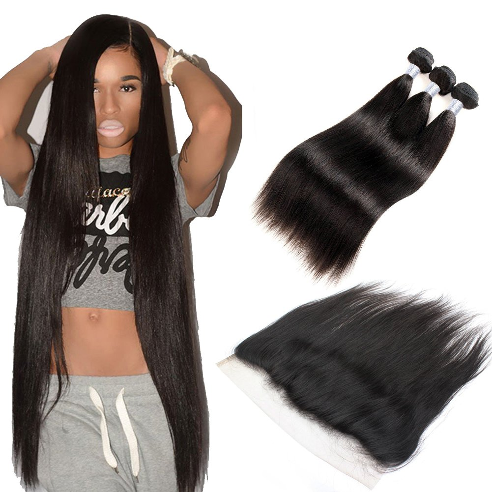 Forawme Brazilian Virgin Hair Bundles With Frontal Closure 4pcs Lot Straight 22 24 26 With 20 Inch Lace Frontal Closure With Hair Weft 1B Natural Black