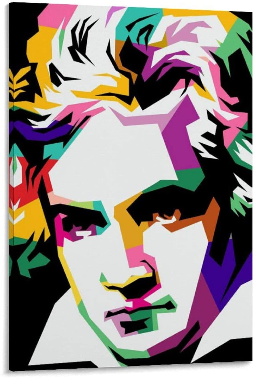 Jiandan Ludwig Van Beethoven Canvas Art Poster and Wall Art Picture Print Modern Family Bedroom Decor Posters 24x36inch(60x90cm)