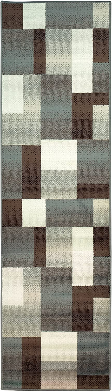 SUPERIOR Designer Clifton Collection Area Rug - Modern Area Rug, 8 mm Pile, Geometric Trellis Pattern with Jute Backing, Light Blue, 2' 7