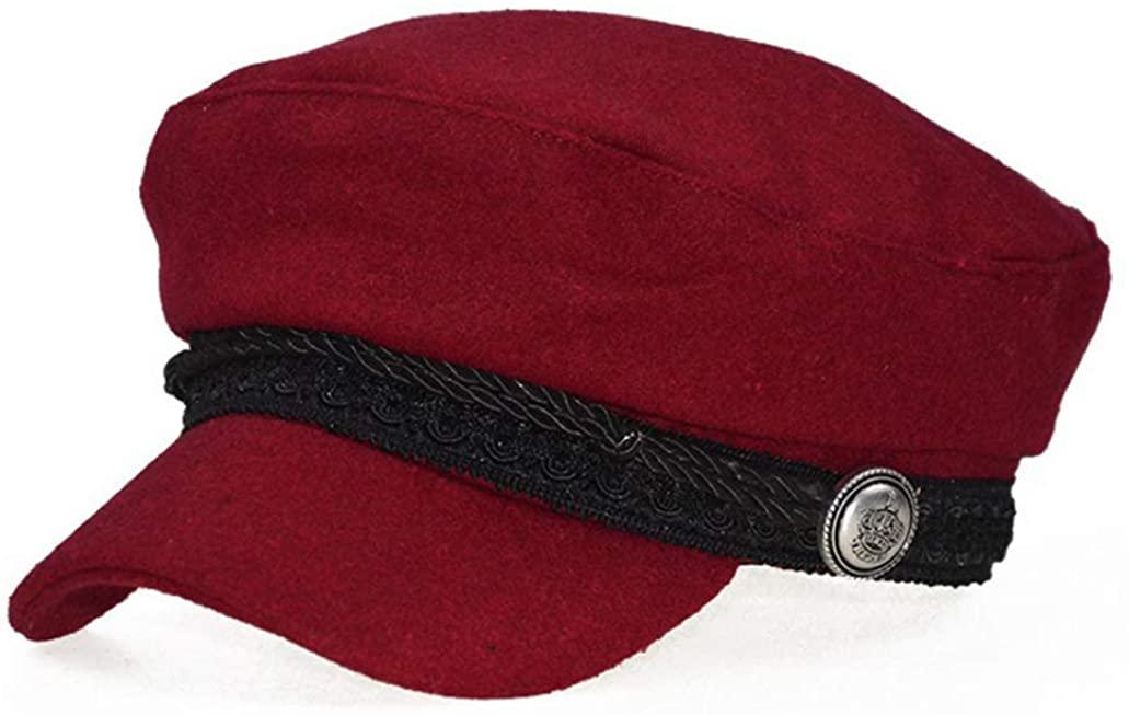 Women Wool Newsboy Caps Vintage Flat Top Visor Caps Fashion Octagonal Hat Casual Military Cap