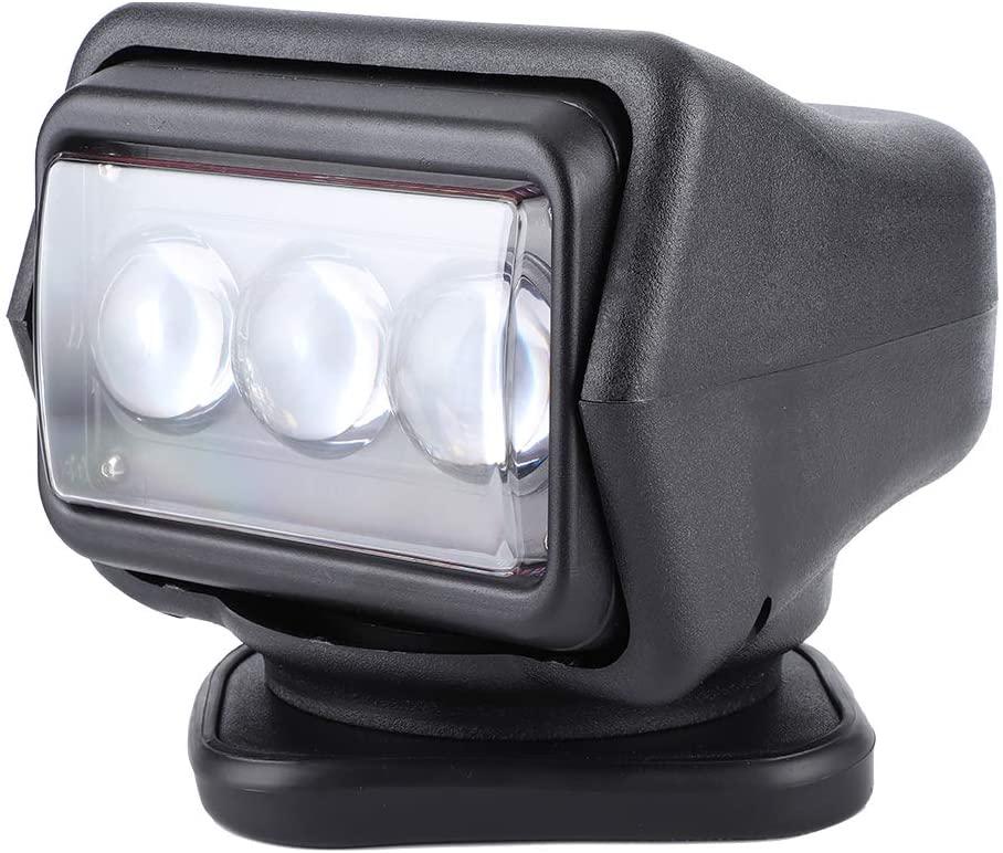 Qiilu Spot Light, 60W LED ABS Remote Control Searchlight IP67 6000K Spotlight for Boat Off‑Road(black)