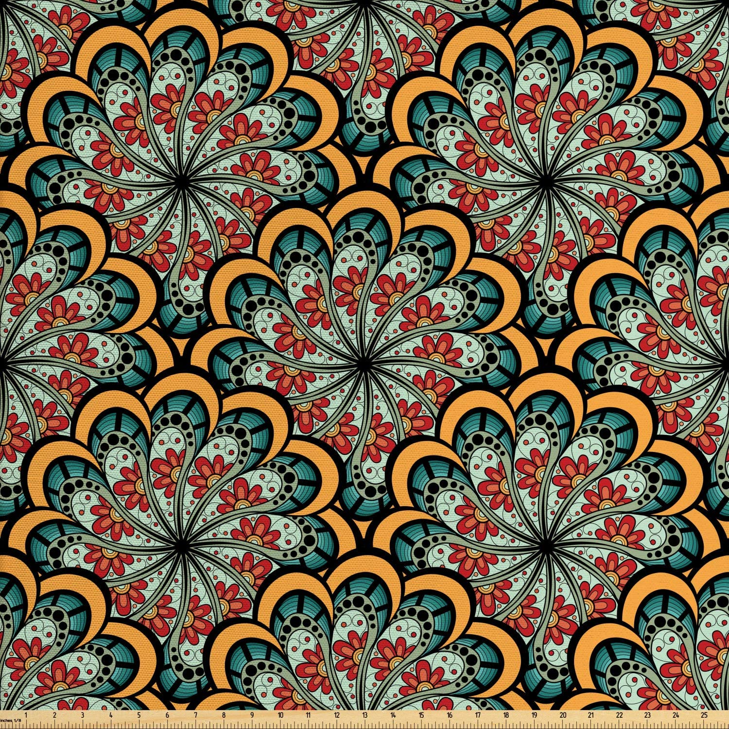 Ambesonne Mandala Fabric by The Yard, Flourishing Nature Design with Paisley Motif Bohemian Pattern, Decorative Fabric for Upholstery and Home Accents, 3 Yards, Marigold Seafoam