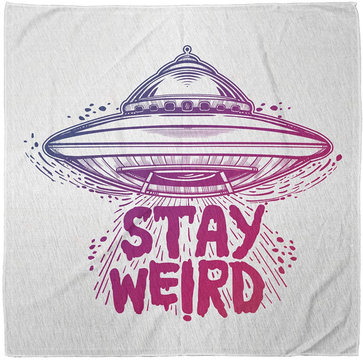 Lunarable Outer Space Unisex Bandana, Stay Weird Words Ufo, Pink Purple