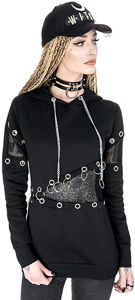 RE Style Mesh and Eyelets Fashion Gothic Hoodie