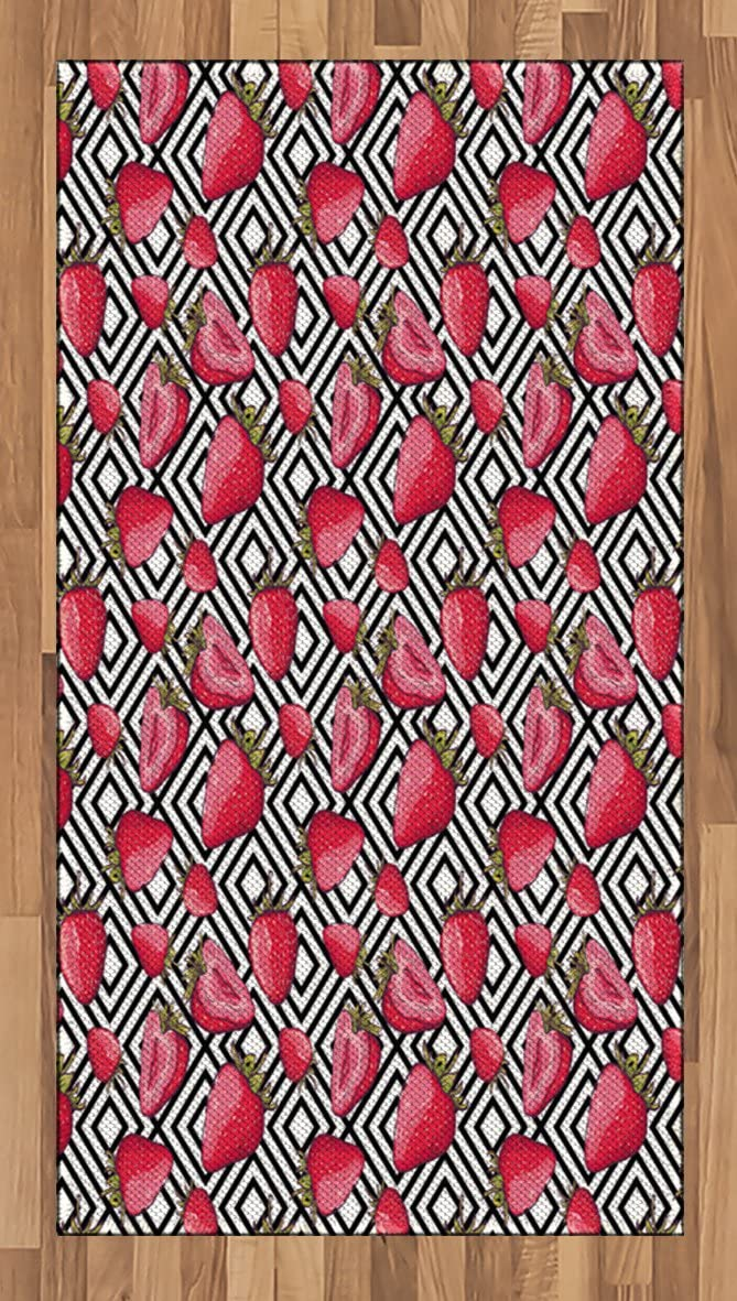 Ambesonne Fruits Area Rug, Strawberries on Minimalist Chevron Striped Pattern with Juicy Food Feminine Image, Flat Woven Accent Rug for Living Room Bedroom Dining Room, 2.6' x 5', Black White