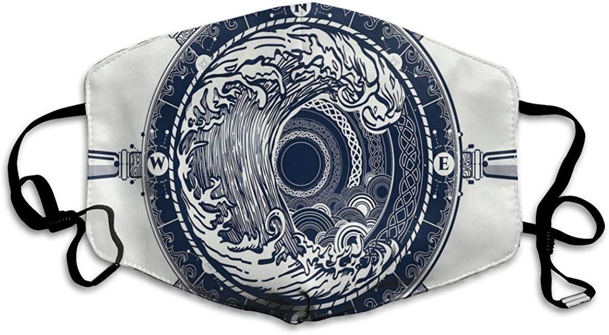 Comfortable Windproof Mask,Sea Design with Waves Vintage Curvy Stripes Marine Theme Illustration