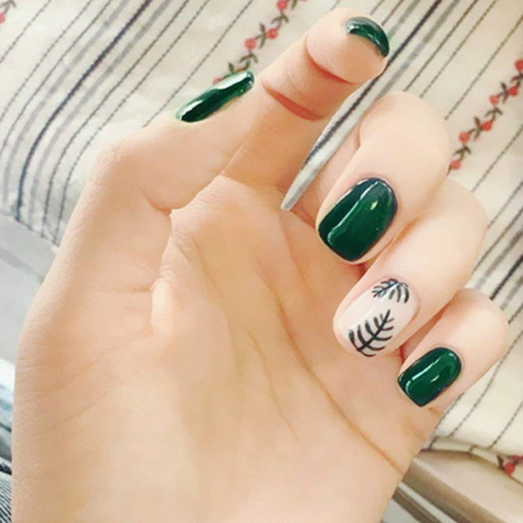 Haloty Fake Nails Full Cover False Nails Square Short Press on Nail Star Nude Green Glossy Leaf Acrylic Nail Hand Accessories for Women and Girls