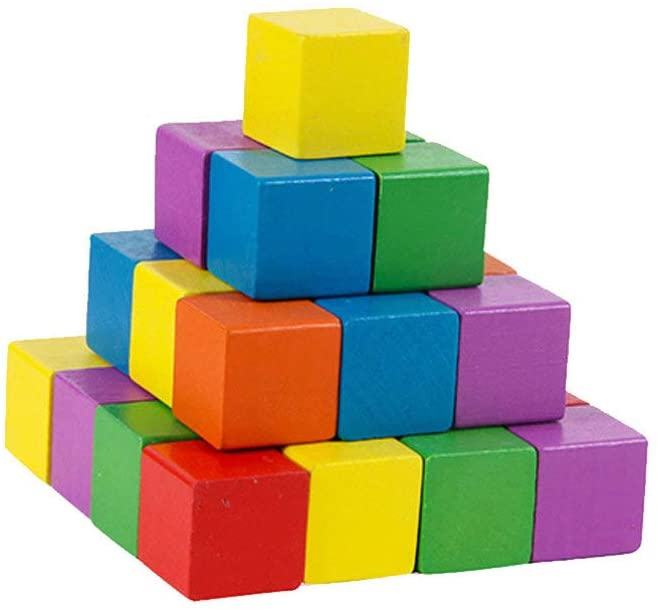 Healifty Wooden Cubes Unfinished Blank Square Wood Blocks for Painting and Decorating Puzzle Making Crafting and DIY Projects Square Cubes 50pcs (2.5cm Colorful)
