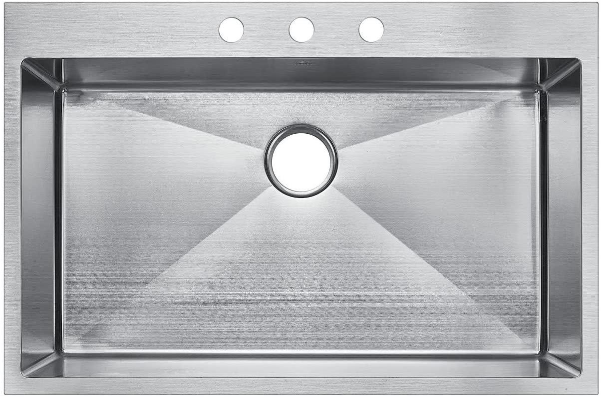Starstar 36 Inch Top-mount / Drop In Stainless Steel Single Bowl Kitchen Sink 16 Gauge