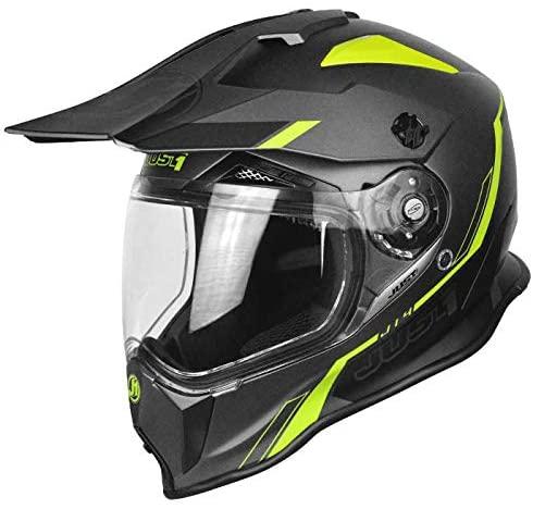 Just 1 J14 Duo Sport unisex-adult off road Fiber Shell Motocross Motorcycle Helmet (Flat Black Trans Carbon Line Fluo Yellow, X-Large)