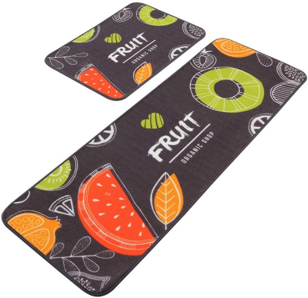 2piece Non-Slip Kitchen Floor mats, Long Water-Absorbing and Oil-Absorbent Carpet, Cartoon Floor mats with Door/Bathroom/Porch Printing (19.6