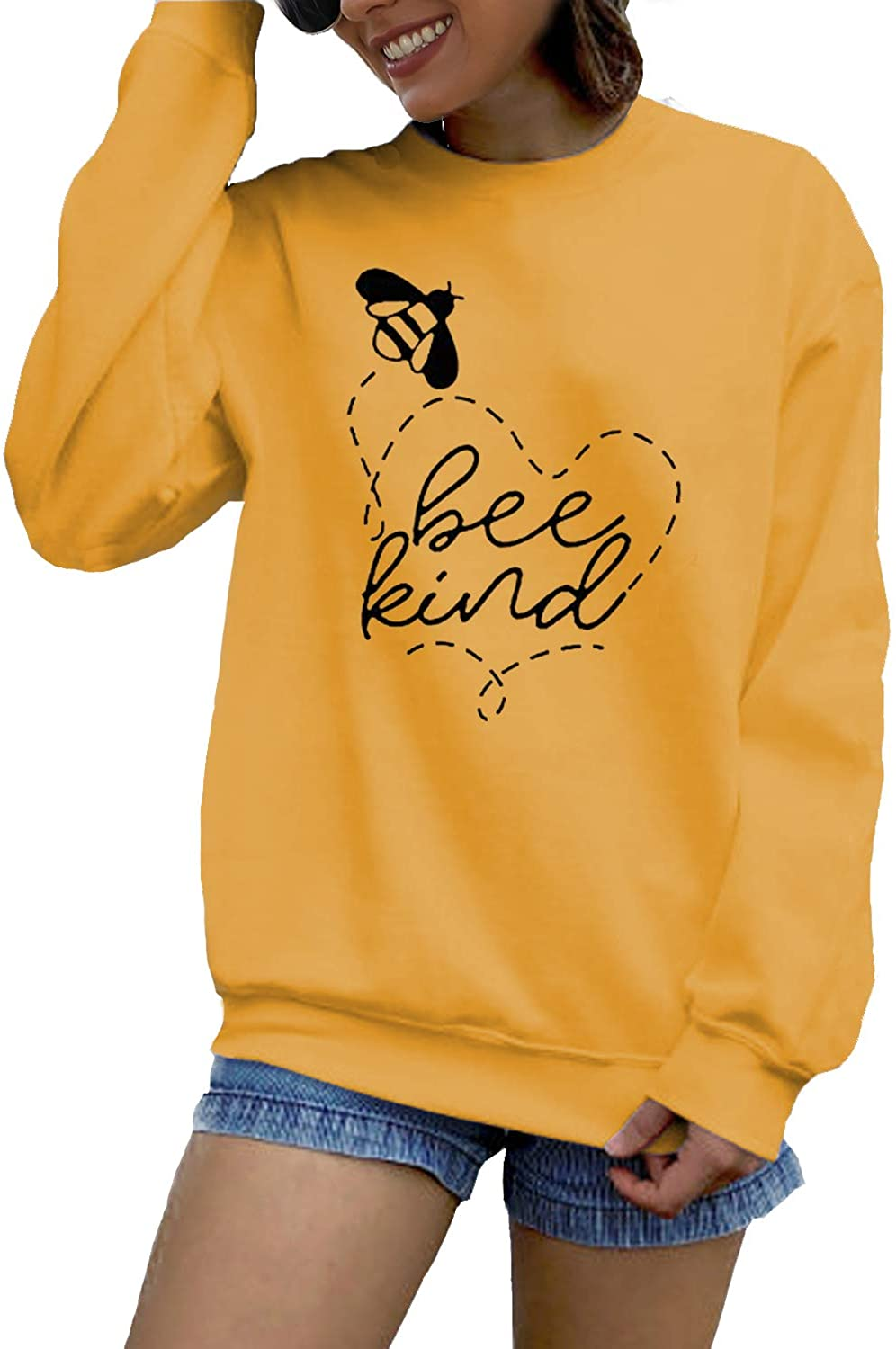 Acun Women Bee Kind Sweatshirts Funny Bee Graphic Long Sleve Fall Casual Pullover Tops Blouses