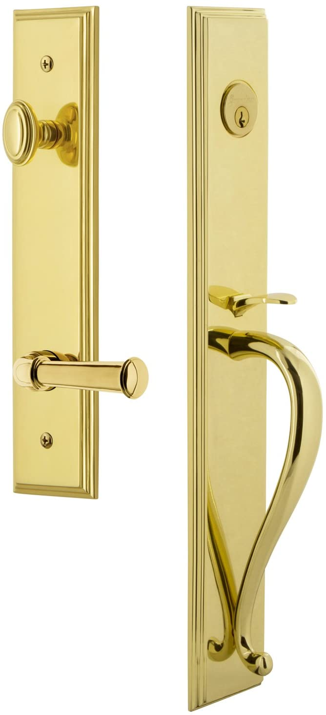 Grandeur 847271 Hardware Carre' One-Piece Handleset with S Grip and Georgetown Lever in Lifetime Brass, Backset Size-2.75