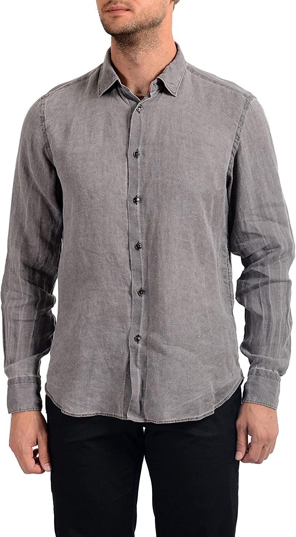 MALO Men's 100% Linen Gray Long Sleeve Dress Shirt US 16 IT 41