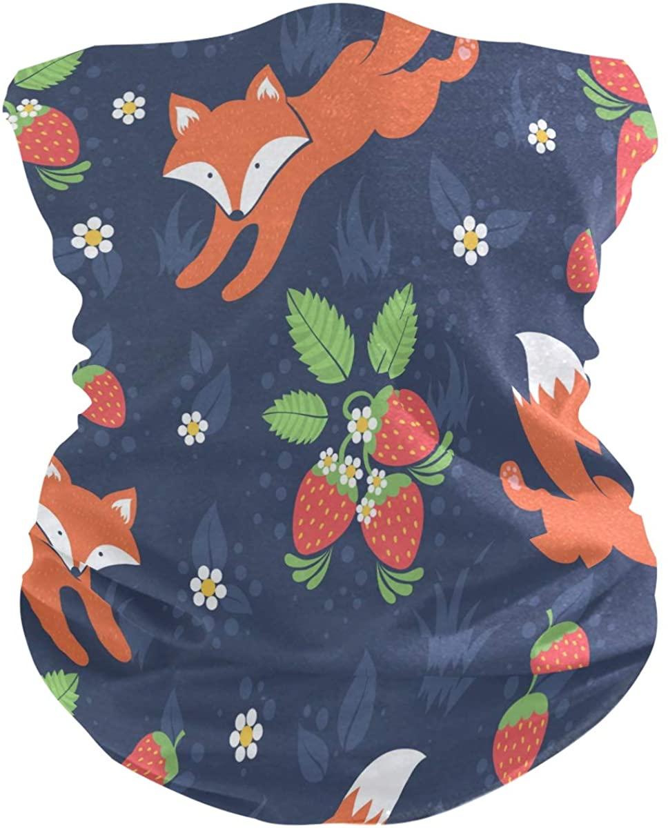 FORMEETY Fox Strawberry Flower Bandana for Men Women Head Wrap Magic Scarf Rave Face Dust-proof Mask Neck Gaiter for Sport Fan Hiking Climbing Exercising
