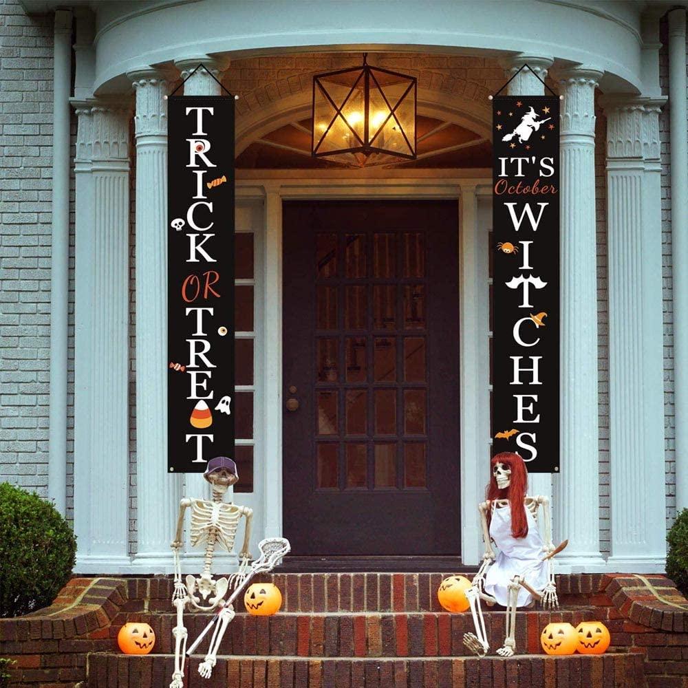 JNFEMKS Halloween Decorations Outdoor - Trick or Treat & It's October Witches Halloween Signs for Front Door or Indoor Home Decor - Halloween Welcome Signs - Porch Decorations