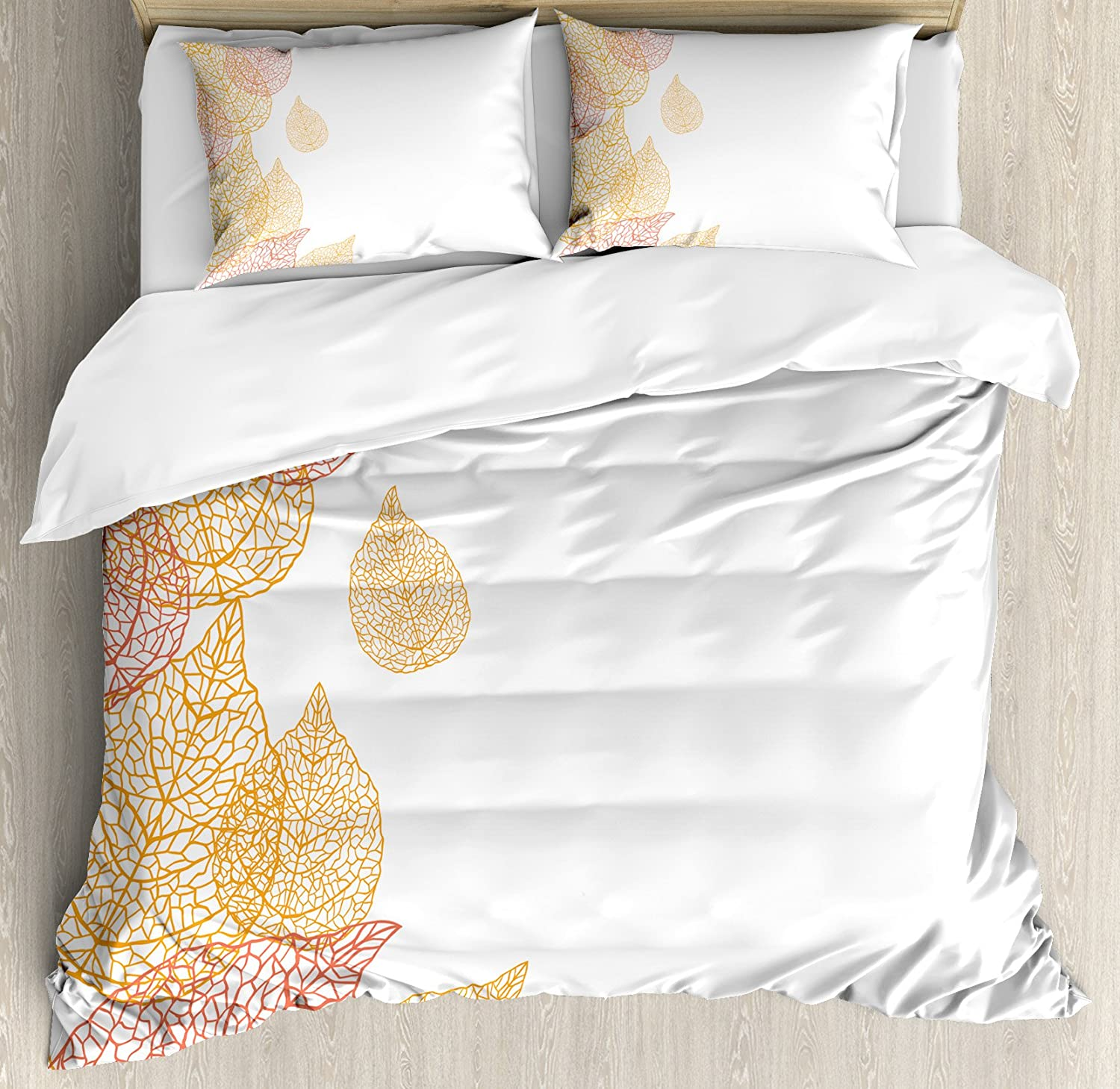 Ambesonne Leaf Duvet Cover Set, Illustration of Fall Leaves Modern Pattern Romantic Art with Soft Autumn Colors, Decorative 3 Piece Bedding Set with 2 Pillow Shams, King Size, Coral Marigold