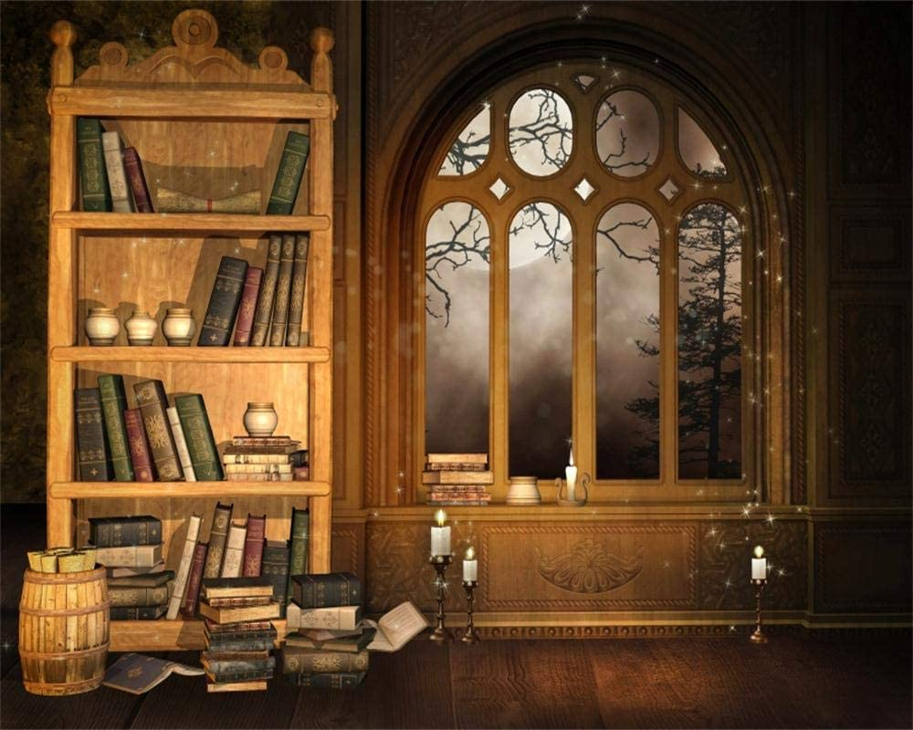 OFILA Vintage Library Backdrop 10x8ft Magic Books Glitters Candles Enchanted Books Inteiror Wallpaper Decoration Treasure Kids Fantasy Theme Birthday Party Background Children Photos Video Props
