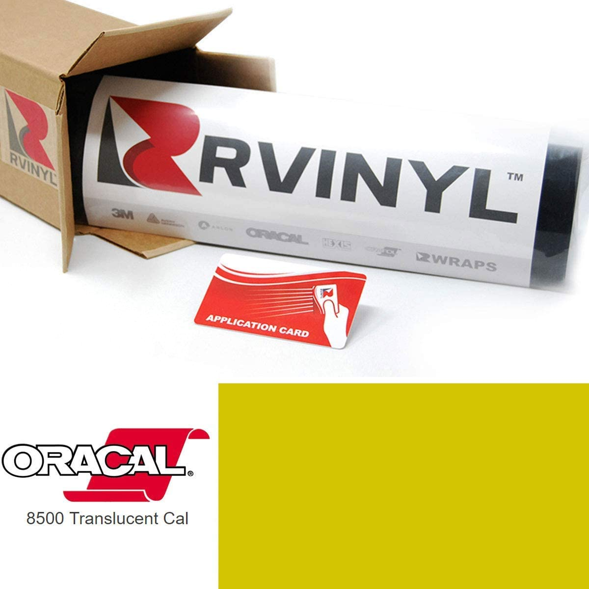 ORACAL 8500 Brimstone Yellow 025 Translucent Calendered Film 2ft x 4ft W/Application Card Vinyl Film Sheet Roll - for Cricut, Silhouette Cameo, Craft and Sign Cutters
