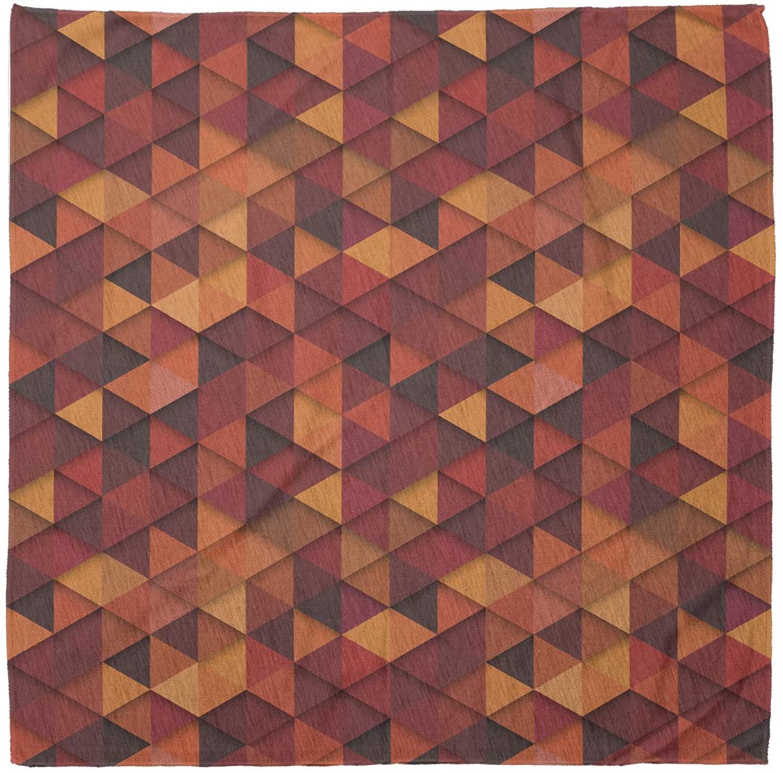 Ambesonne Orange Bandana, Retro Pattern Triangle, Unisex Head and Neck Tie