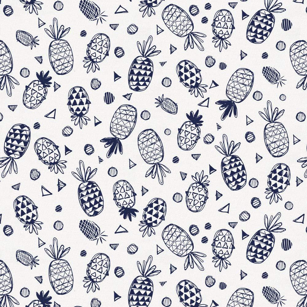 Carousel Designs Navy Little Pineapples Fabric by The Yard - Organic 100% Cotton