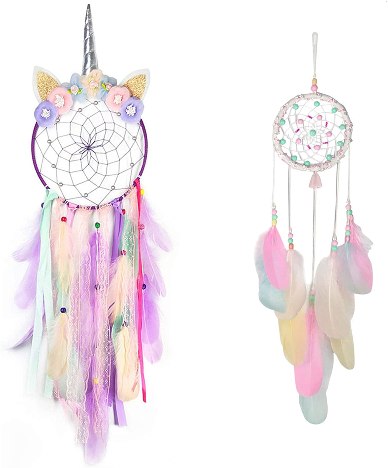 Rozwkeo 2 pcs Unicorn Dream Catcher for Girls Room Baby Teen Kids Bedroom Decor Pink Cute Dream Catcher Wall Hanging Decoration with Feather Flower for Nursery Baby Shower Ornament Festival Gift