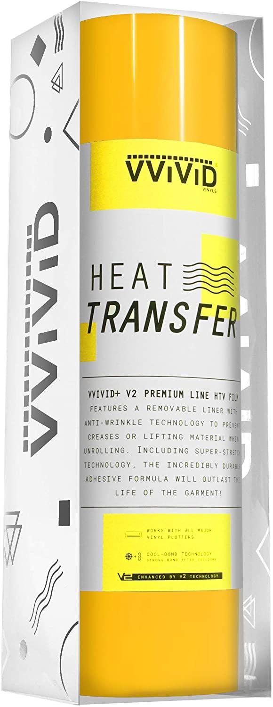 VVIViD V2 Powerplay Premium Line HTV Heat Transfer Vinyl Film 50ft by 1ft Roll (Yellow)