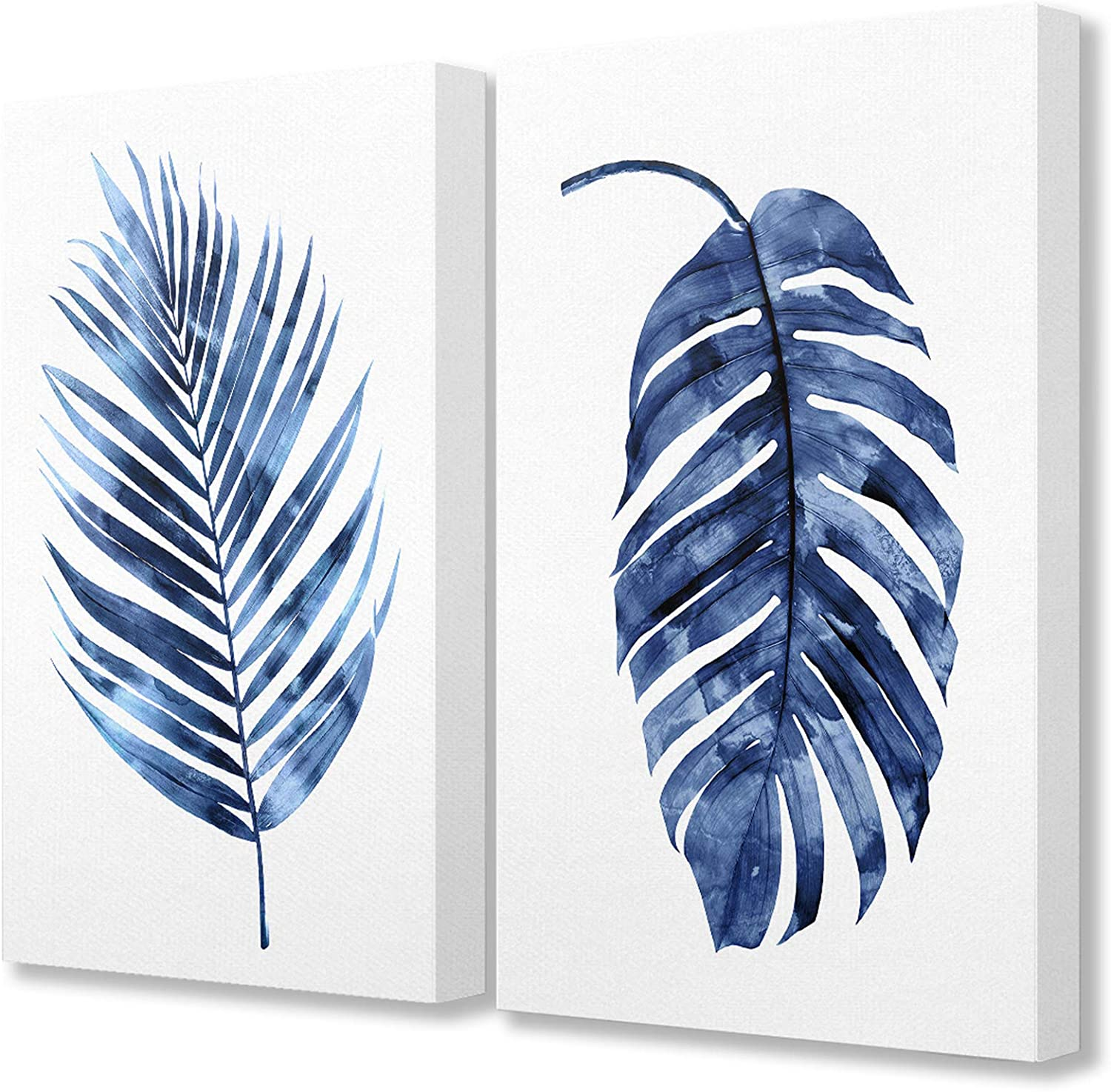 The Stupell Home Décor Collection Indigo Dark Blue Watercolor Palm Frond Plant Painting Duo Stretched Canvas Wall Art, 16 x 20, Multi-Color
