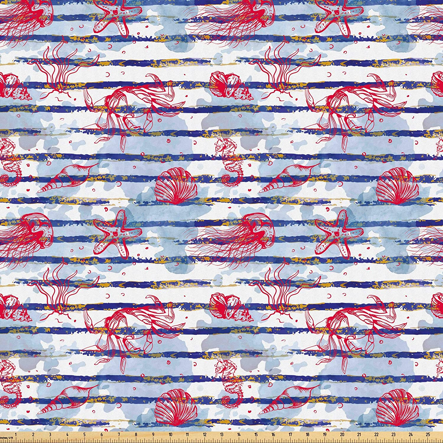 Lunarable Underwater Fabric by The Yard, Watercolor Stripes and Ocean Nature Seashells Crabs and Starfishes, Microfiber Fabric for Arts and Crafts Textiles & Decor, 5 Yards, Multicolor