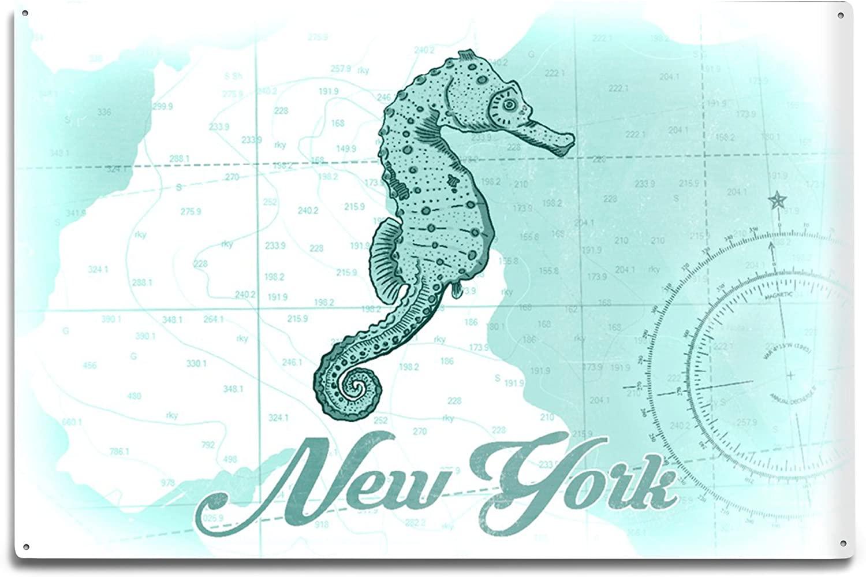 Lantern Press New York - Seahorse - Teal - Coastal Icon (12x18 Aluminum Wall Sign, Wall Decor Ready to Hang)