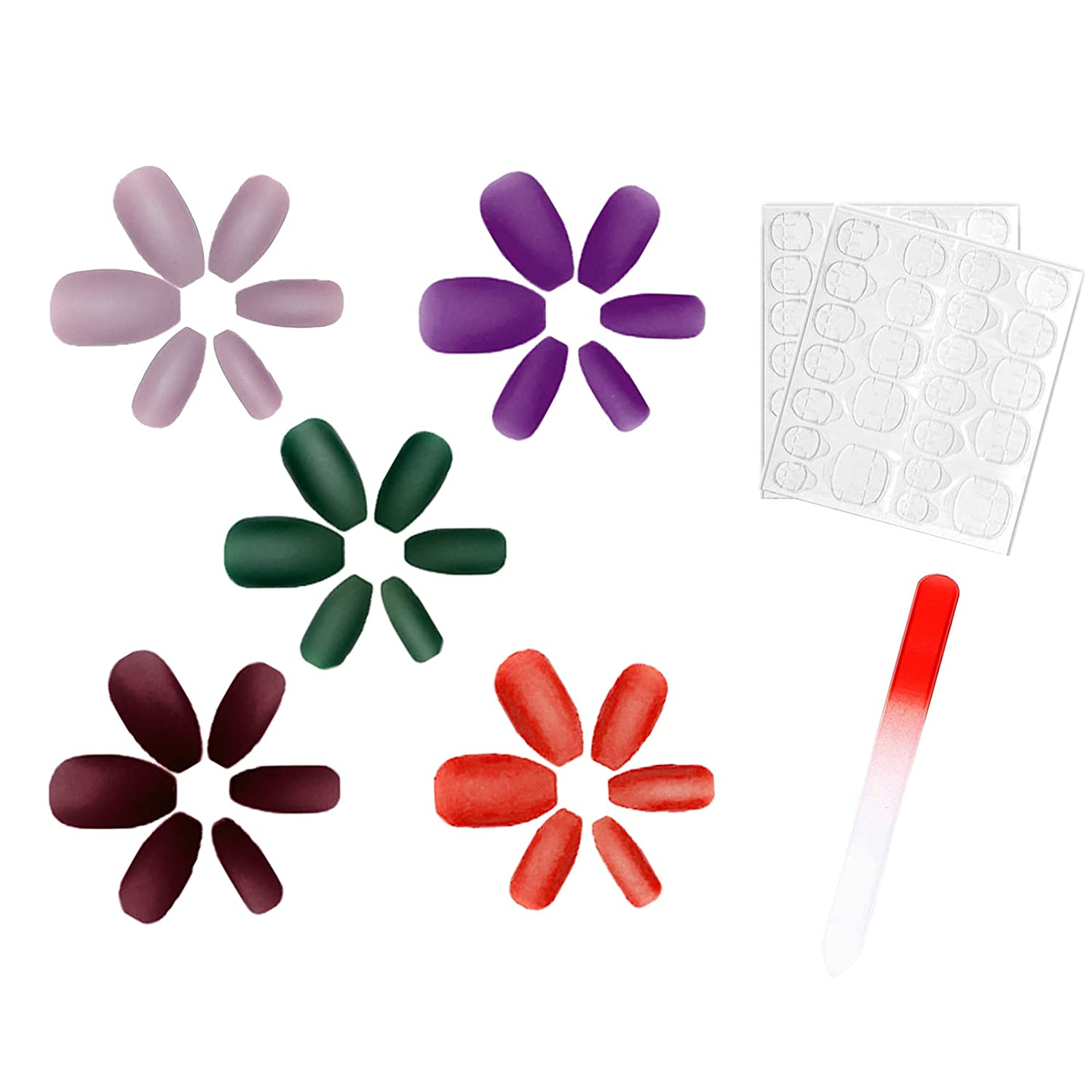 120PCS Matte Color False Nails with Designs, Ballerina Natural Coffin Press on Nails, Long Fake Nails for Women and Girls, 5 styles of colors with Nail File and Nail Adhesive Tabs
