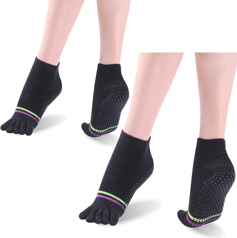 Yoga Socks with Grips, Hissox Women's Non-Slip Full Five Toe Yoga Socks for Yoga, Pilates, Barre, Ballet, Dance, Home 2 Pairs