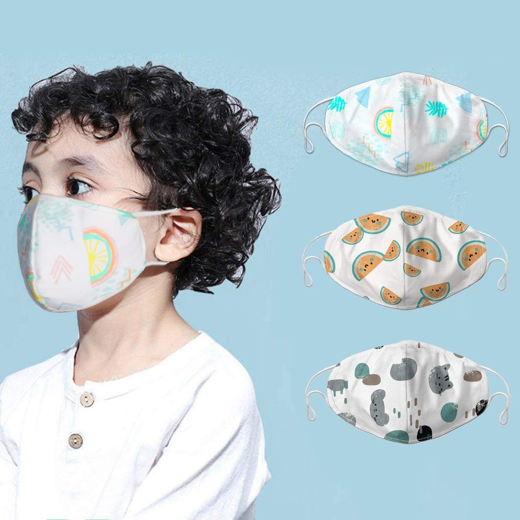 DDY Kids Face Pure Cotton Cloth Breathable,Comfortable, Reusable,Washable Cute Anti-dust with Adjustable Ear Loops for School and Daily Activity Use of Girls Boys(3PCS)(Mixnew)
