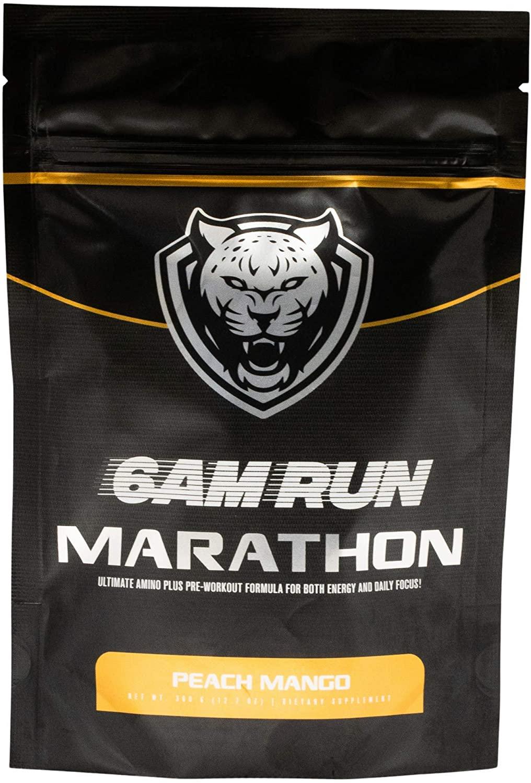 6AM RUN Marathon Run - Pre Workout Powder for Running & Essential Amino Energy Powder - Pre Workout No Jitters - Keto Pre Workout Powder - Vegan Pre Workout Powder - Peach Mango - 360g