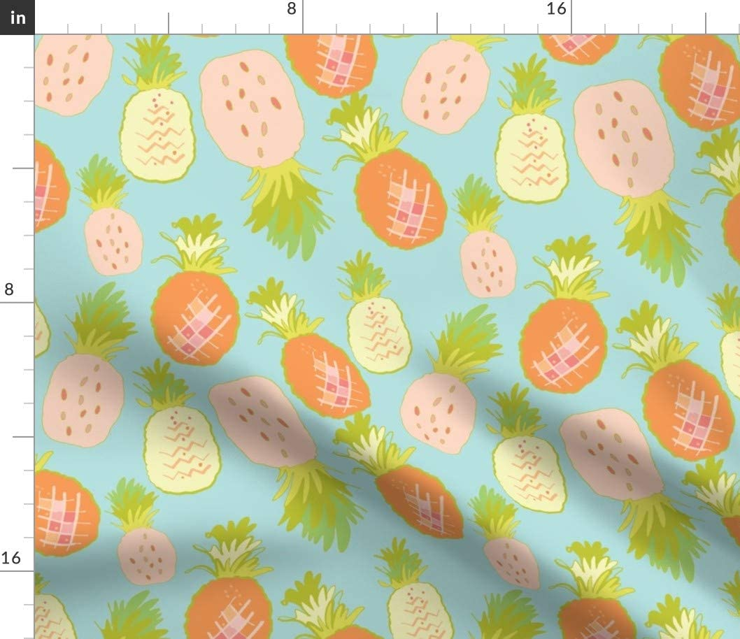 Spoonflower Fabric - Pineapple Pineapples Tropical Print Botanical Hawaiian Fruit Printed on Minky Fabric by The Yard - Sewing Baby Blankets Quilt Backing Plush Toys