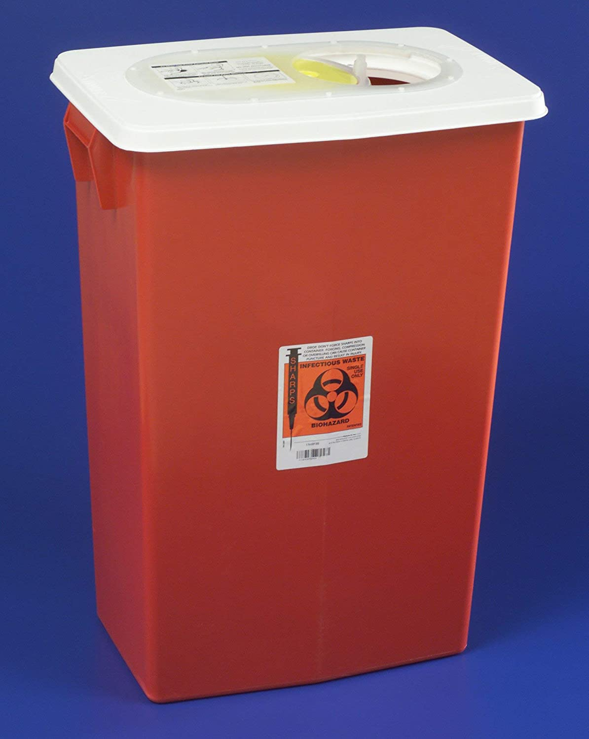SharpSafety Sharps Container 1-Piece 26 H X 18-1/4 W X 12-3/4 D Inch 18 Gallon Red Hinged Lid, 8998 - Case of 5