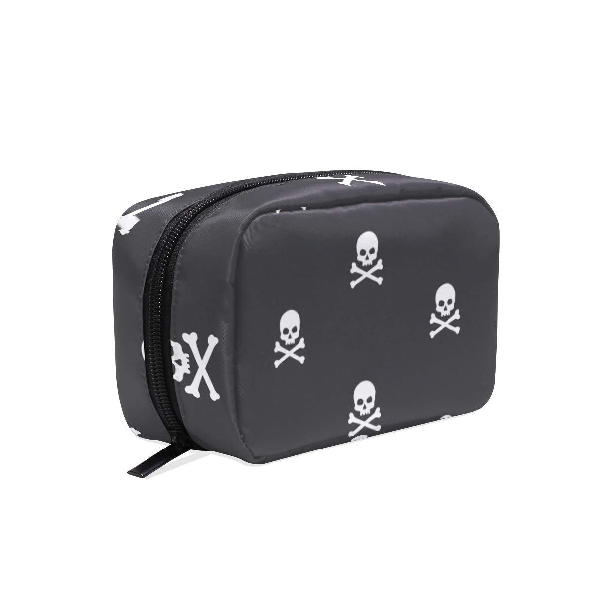 Women's Makeup Cosmetic Bag Sugar Skulls Makeup Bag for Travel Cosmetic Pouch Brush Bag(908d15)