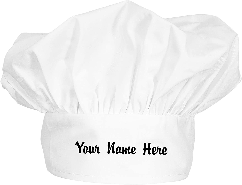 ChefsCloset Custom Embroidered Chef Hat, Custom Poplin Floppy Chef Hats, White Chef Hat Unisex Men or Women