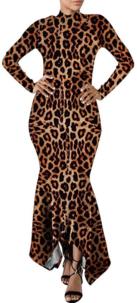 Ophestin Women Sexy Mock Neck Long Sleeve Knit Ribbed Bodycon Mermaid Long Maxi Dress